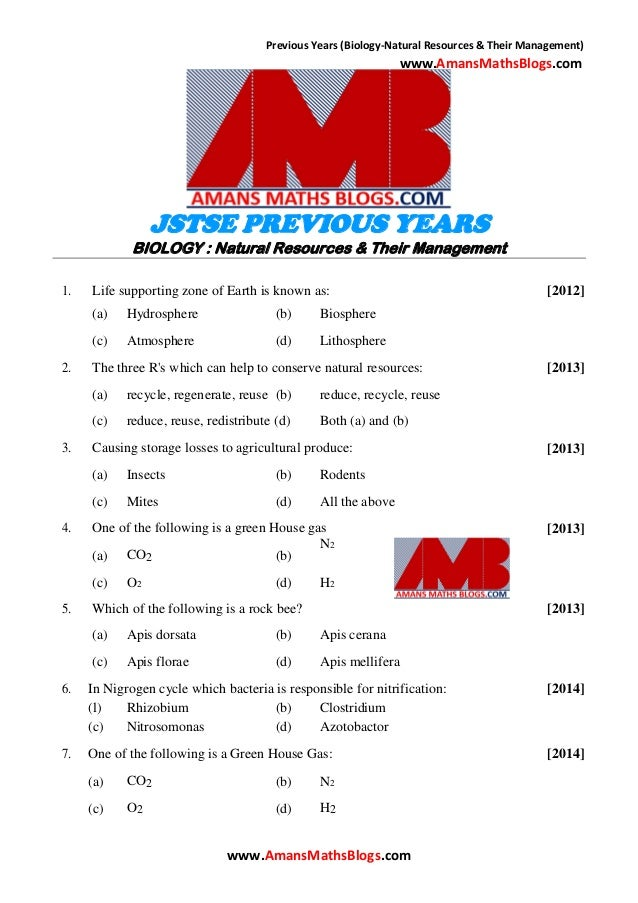 Previous Years (Biology-Natural Resources & Their Management) www.AmansMathsBlogs.com JSTSE PREVIOUS YEARS BIOLOGY : Natur...