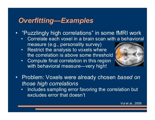 """Overfitting—Examples • """"Puzzlingly high correlations"""" in some fMRI work • Correlate each voxel in a brain scan with a beha..."""