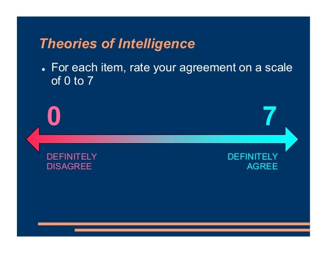 Theories of Intelligence ! For each item, rate your agreement on a scale of 0 to 7 DEFINITELY AGREE DEFINITELY DISAGREE 7 0