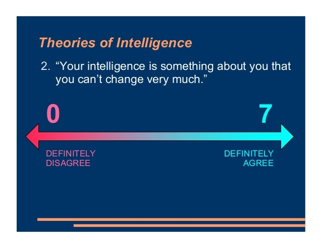 """Theories of Intelligence 2. """"Your intelligence is something about you that you can't change very much."""" DEFINITELY AGREE D..."""
