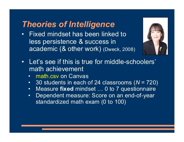 Theories of Intelligence • Fixed mindset has been linked to less persistence & success in academic (& other work) (Dweck, ...