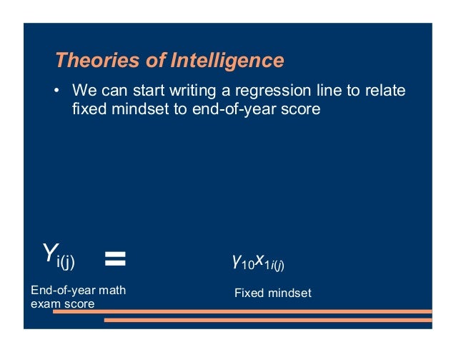Theories of Intelligence • We can start writing a regression line to relate fixed mindset to end-of-year score = End-of-ye...