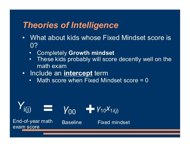 Theories of Intelligence • What about kids whose Fixed Mindset score is 0? • Completely Growth mindset • These kids probab...