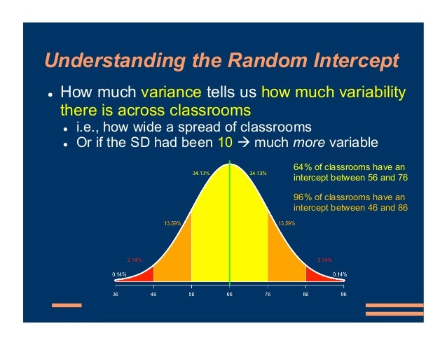 Understanding the Random Intercept ! How much variance tells us how much variability there is across classrooms ! i.e., ho...