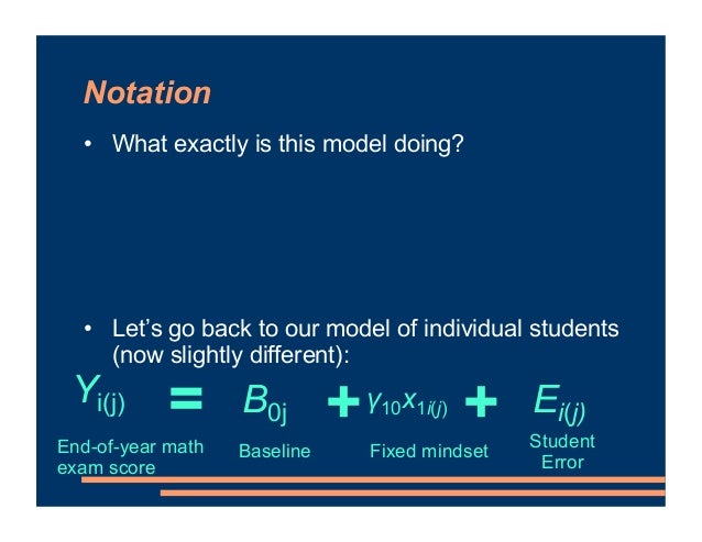 Notation • What exactly is this model doing? • Let's go back to our model of individual students (now slightly different):...