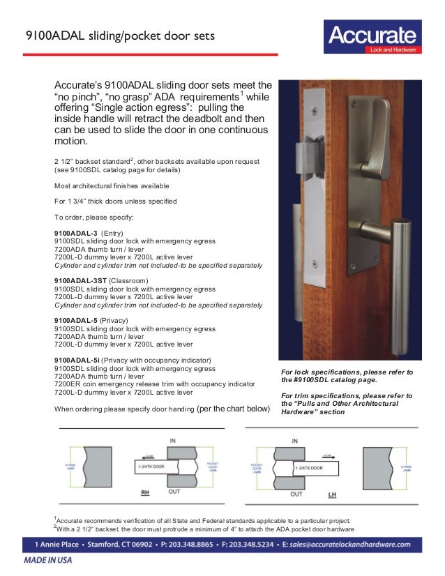 Sliding And Pocket Doors Locksets For Ada Applications
