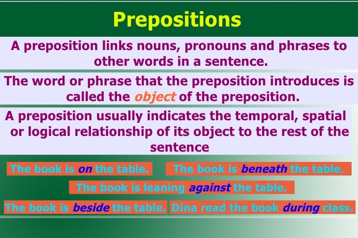 Prepositions <ul><li>A preposition links nouns, pronouns and phrases to other words in a sentence.  </li></ul>The book is ...