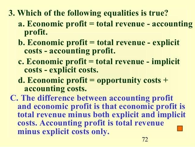 distinguish between accounting profit and economic profit