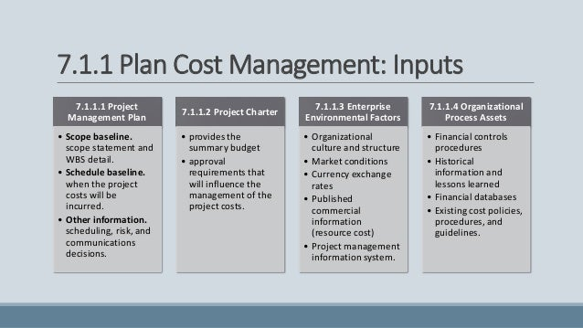 Project management goal: Manage costs and the budget