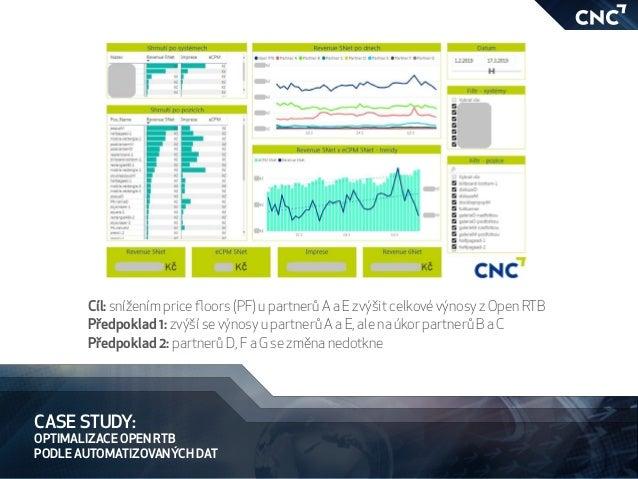 CASE STUDY: OPTIMALIZACE OPEN RTB PODLE AUTOMATIZOVANÝCH DAT Cíl: snížením price floors (PF) u partnerů A a E zvýšit celko...