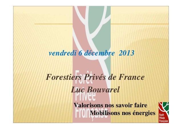 vendredi 6 décembre 2013  Forestiers Privés de France  Luc Bouvarel  1  Valorisons nos savoir faire  Mobilisons nos énergi...