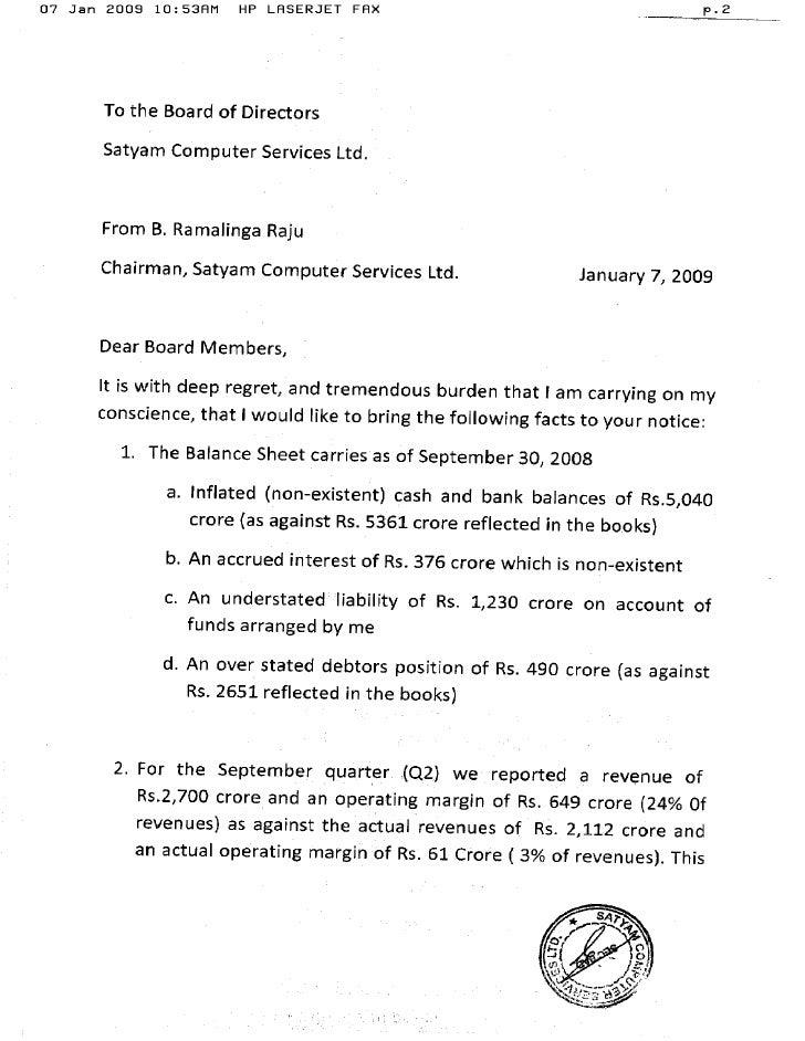 Satyam The Letter that Ramalinga Raju wrote reveals shocking detai – Ramalinga Raju Resignation Letter