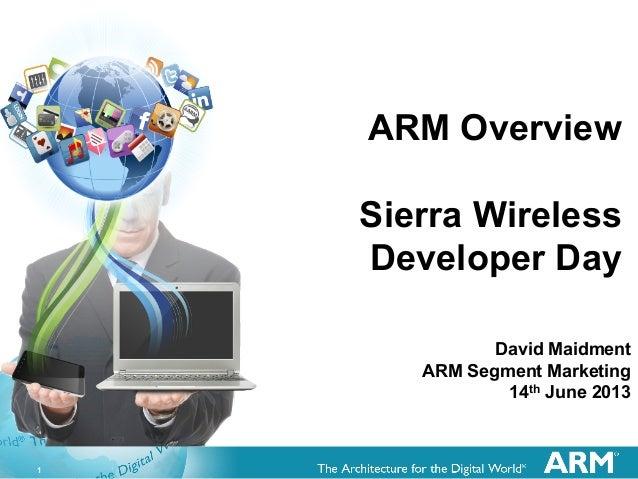 1ARM OverviewSierra WirelessDeveloper DayDavid MaidmentARM Segment Marketing14th June 2013