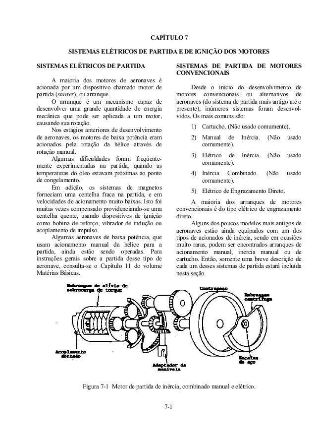 7-1 CAPÍTULO 7 SISTEMAS ELÉTRICOS DE PARTIDA E DE IGNIÇÃO DOS MOTORES SISTEMAS ELÉTRICOS DE PARTIDA A maioria dos motores ...