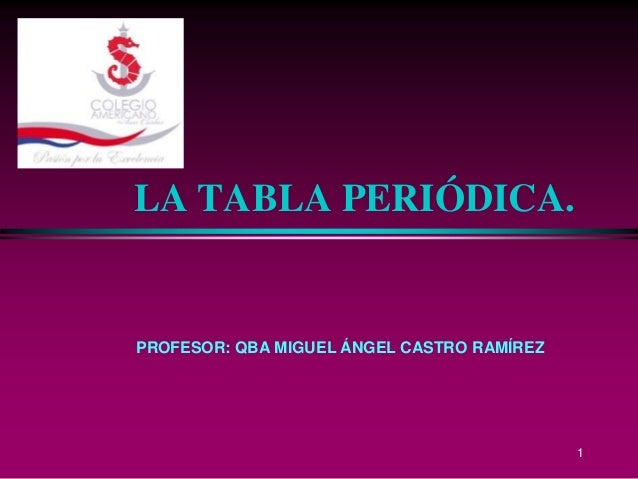 LA TABLA PERIÓDICA.PROFESOR: QBA MIGUEL ÁNGEL CASTRO RAMÍREZ                                            1