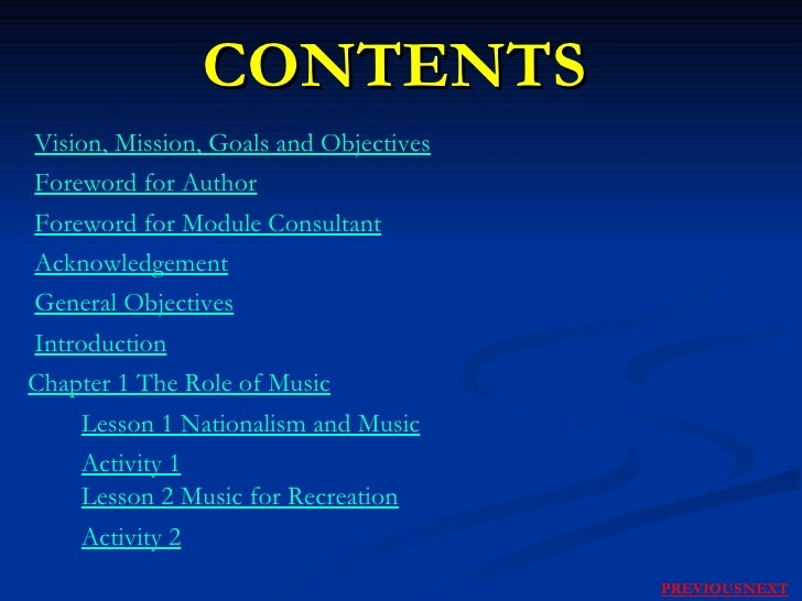 CONTENTS Vision, Mission, Goals and Objectives Foreword for Author Foreword for Module Consultant Acknowledgement General ...