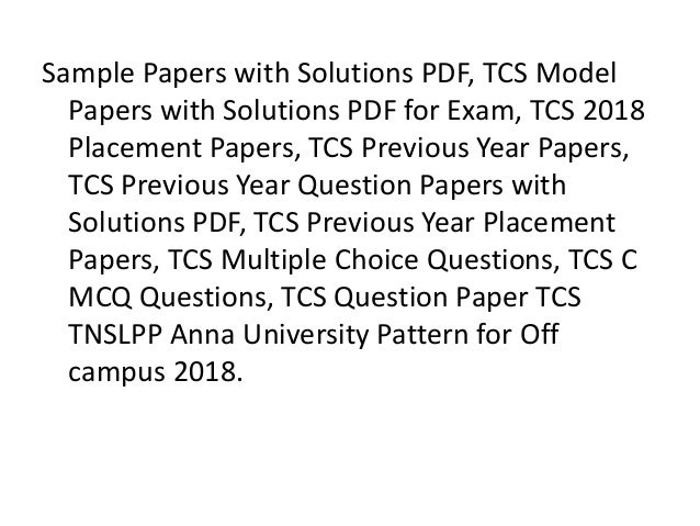 TCS Placement Papers and TCS Previous Papers 2019