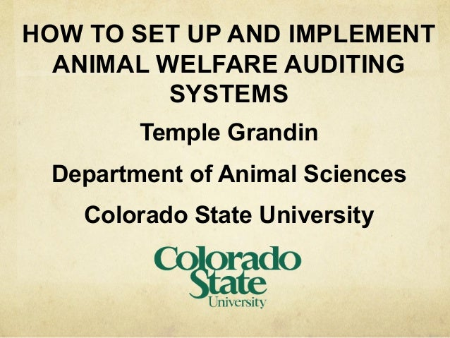 HOW TO SET UP AND IMPLEMENT ANIMAL WELFARE AUDITING SYSTEMS Temple Grandin Department of Animal Sciences Colorado State Un...
