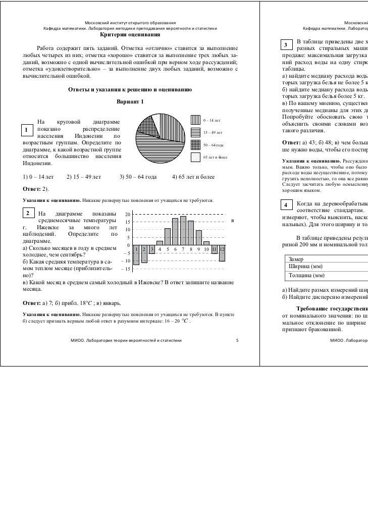 Контрольная работа по вероятности и статистике класс МИОО  Лаборатория теории вероятностей и статистики 4 5