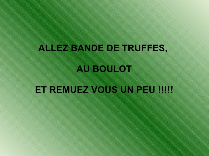 ALLEZ BANDE DE TRUFFES, AU BOULOT ET REMUEZ VOUS UN PEU !!!!!