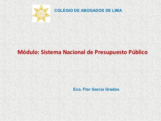 COLEGIO DE ABOGADOS DE LIMAMódulo: Sistema Nacional de Presupuesto Público                    Eco. Flor Garcia Grados