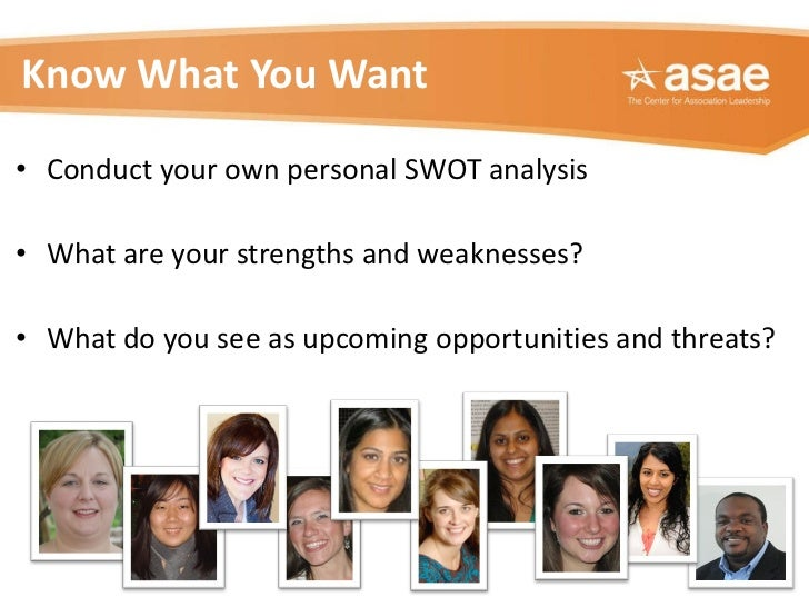 Know What You Want <ul><li>Conduct your own personal SWOT analysis </li></ul><ul><li>What are your strengths and weaknesse...