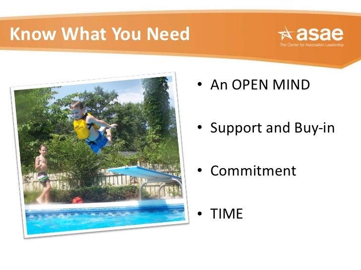 Know What You Need <ul><li>An OPEN MIND </li></ul><ul><li>Support and Buy-in </li></ul><ul><li>Commitment </li></ul><ul><l...