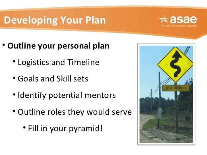 <ul><li>Outline your personal plan  </li></ul><ul><ul><li>Logistics and Timeline </li></ul></ul><ul><ul><li>Goals and Skil...