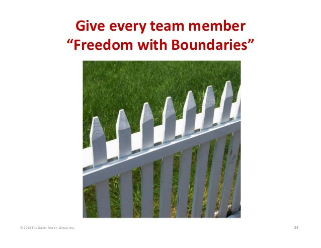 "©2013TheKarenMartinGroup,Inc. 34 Giveeveryteammember ""FreedomwithBoundaries"""