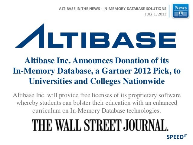 Altibase Inc. will provide free licenses of its proprietary software whereby students can bolster their education with an ...