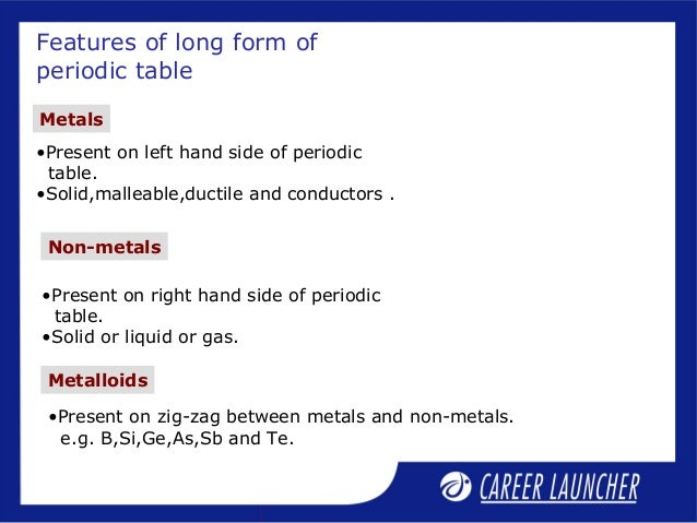 08 classification 1 features of long form of periodic table 31 metals present on left hand urtaz Image collections