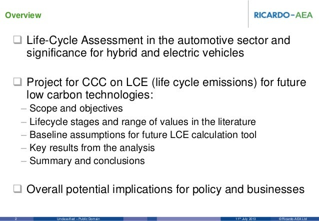 Life cycle analysis for hybrid and electric vehicles Slide 2