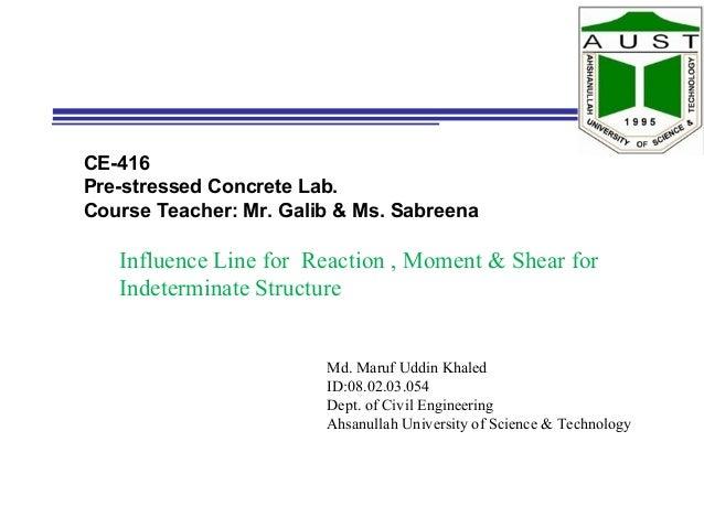 CE-416 Pre-stressed Concrete Lab. Course Teacher: Mr. Galib & Ms. Sabreena Md. Maruf Uddin Khaled ID:08.02.03.054 Dept. of...