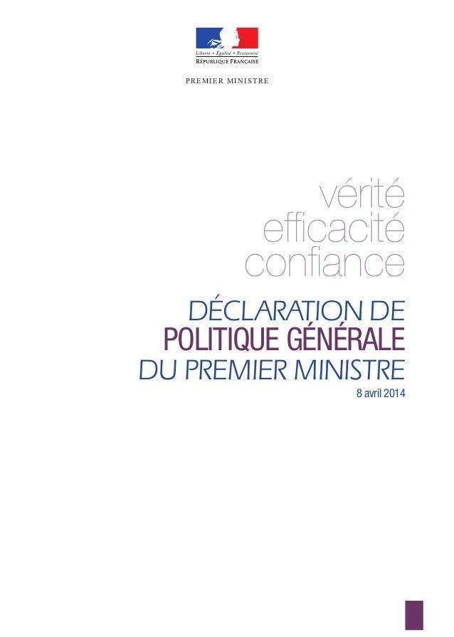 DÉCLARATION DE POLITIQUE GÉNÉRALE DU PREMIER MINISTRE 8 avril 2014 PREMIER MINISTREPREMIER MINISTRE