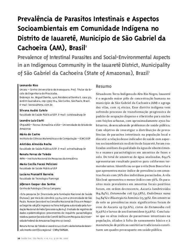 Prevalência de Parasitos Intestinais e Aspectos  Socioambientais em Comunidade Indígena no  Distrito de Iauaretê, Municípi...