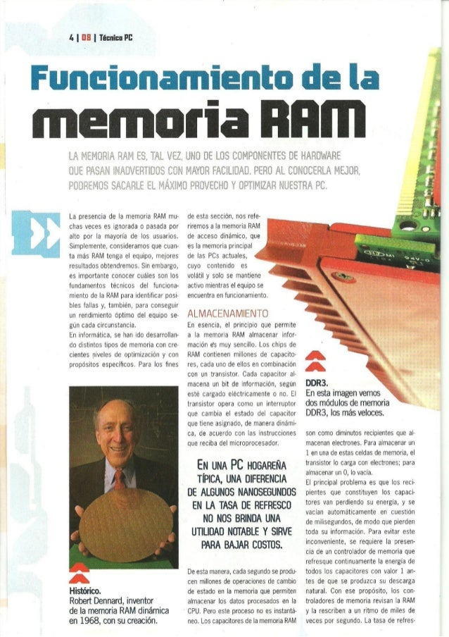 ln |  lll I Técnica FI:   Funeionamien memoria  La presencia de la memoria RAM mu- chas veces es ignorada o pasada por alt...