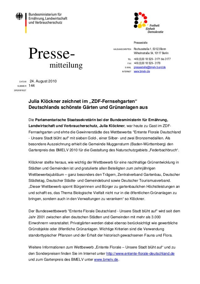 Pressestelle HAUSANSCHRIFTEN Rochusstraße 1, 53123 Bonn Wilhelmstraße 54, 10117 Berlin TEL +49 (0)30 18 529 - 3171 bis 317...