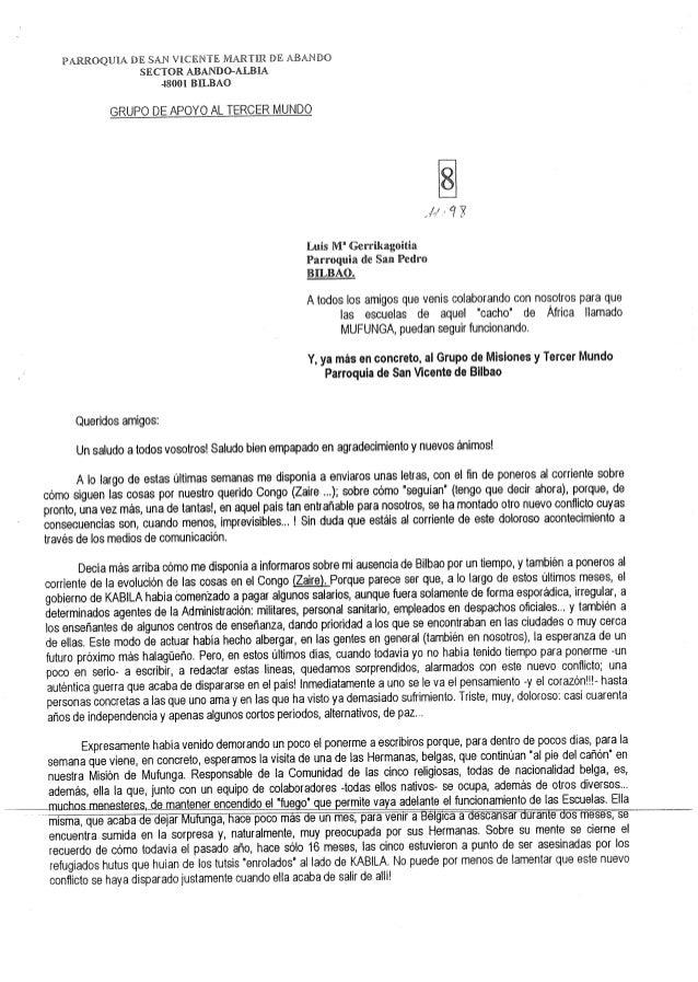 """PARROQUIA DE SAN ViCElllt""""lE MARTHZ DE ABANDO SECTOR ABANDO—A_LBllA 48001 BILBAO  GRUPO DE APOYO AL TERCER MUNDO  Luis M' ..."""