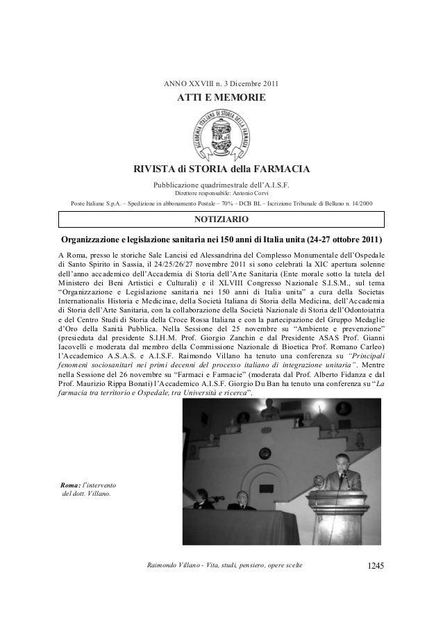 Raimondo Villano - Vita, studi, pensiero, opere scelte 1245 ANNO XXVIII n. 3 Dicembre 2011 ATTI E MEMORIE RIVISTA di STORI...