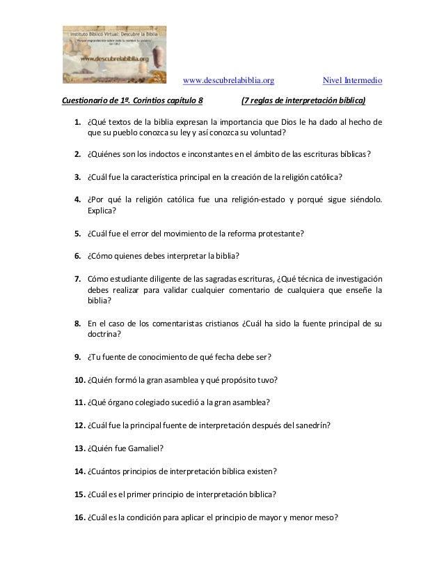 www.descubrelabiblia.org Nivel Intermedio Cuestionario de 1�. Corintios cap�tulo 8 (7 reglas de interpretaci�n b�blica) 1....