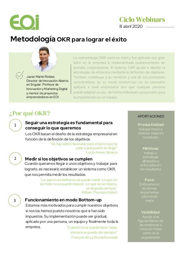 Metodología OKR para lograr el éxito Javier Martín Robles Director de Innovación Abierta en Sngular. Profesor de Innovació...