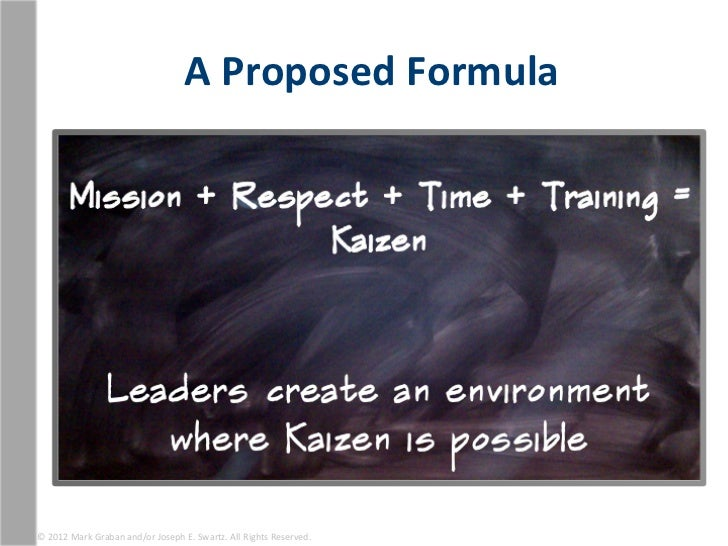 A Proposed Formula © 2012 Mark Graban and/or Joseph E. Swartz. All Rights Reserved.