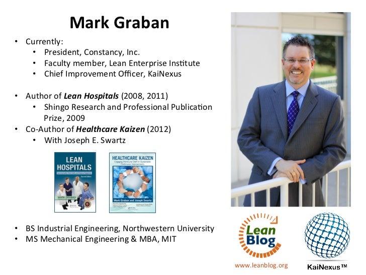 Mark Graban • Currently:     • President, Constancy, Inc.     • Faculty member, Lean Enterprise Ins...