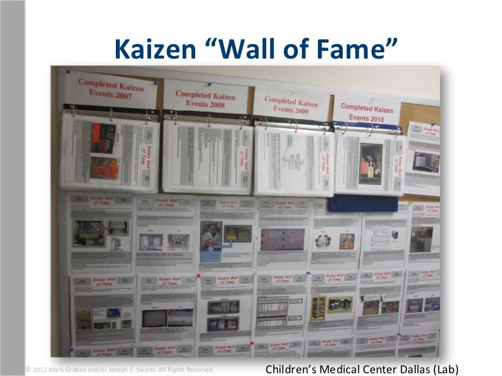 """Kaizen """"Wall of Fame"""" © 2012 Mark Graban and/or Joseph E. Swartz. All Rights Reserved.    ..."""
