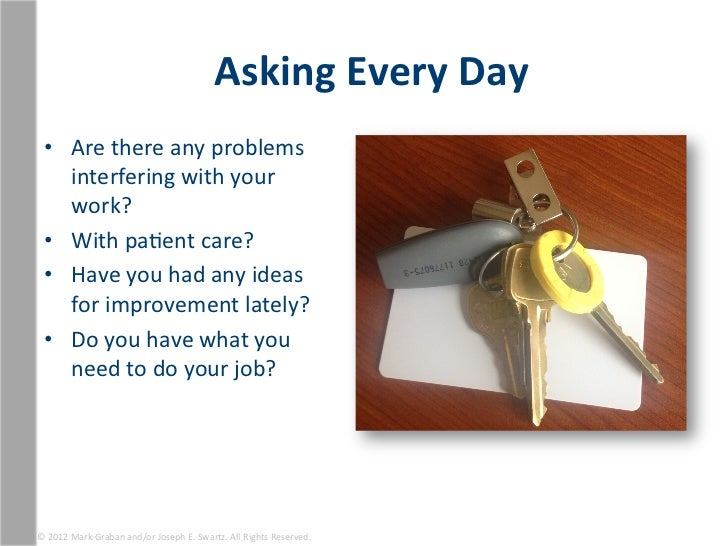 Asking Every Day   • Are there any problems      interfering with your      work?   • With paEen...