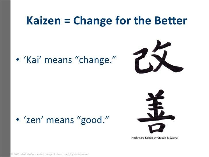 "Kaizen = Change for the BeRer        • 'Kai' means ""change.""       • 'zen' means ""good.""  ©..."