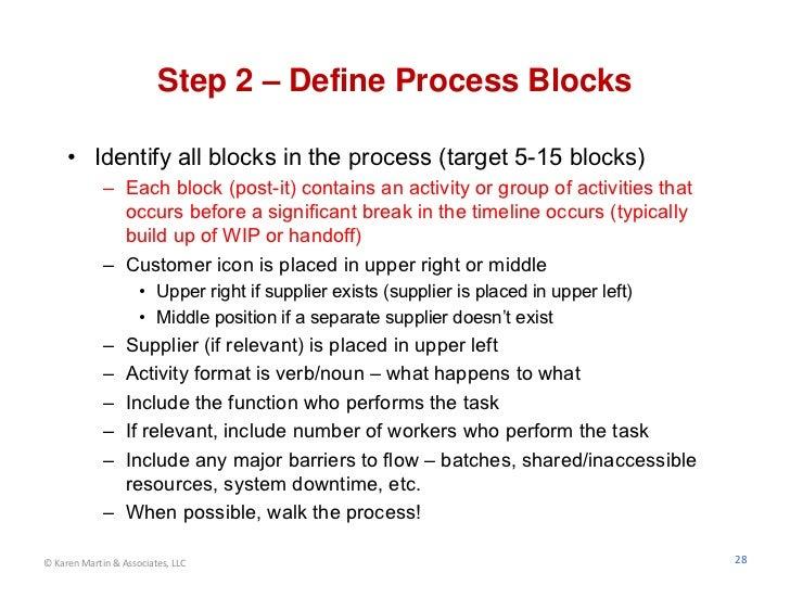Step 2 – Define Process Blocks     • Identify all blocks in the process (target 5-15 blocks)             – Each block (pos...
