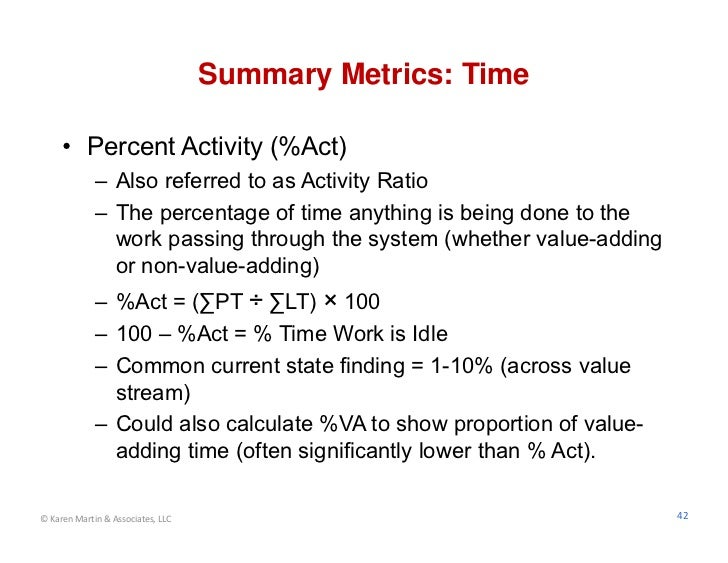 Summary Metrics: Time     • Percent Activity (%Act)             – Also referred to as Activity Ratio             – The per...