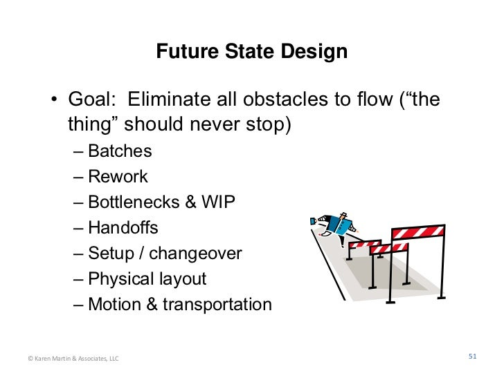 """Future State Design        • Goal: Eliminate all obstacles to flow (""""the          thing"""" should never stop)               ..."""