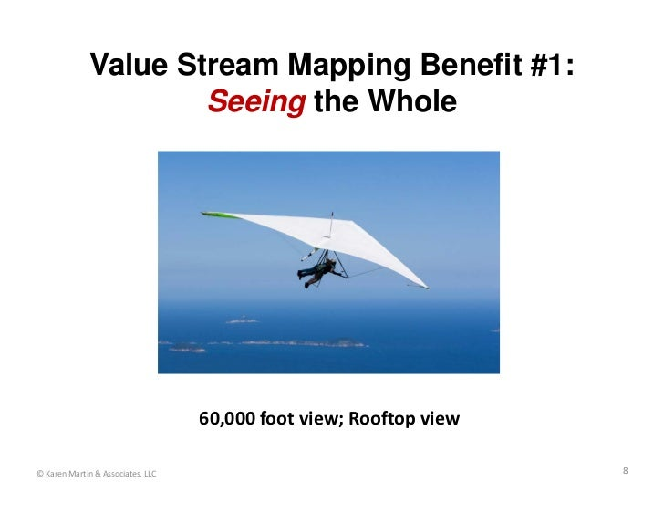 Value Stream Mapping Benefit #1:                      Seeing the Whole                                   60,000 foot view;...